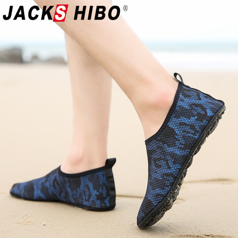 JACKSHIBO Water Shoes Sneakers For Men Male Outdoor Swimming Beach Shoes Barefoot Sneakers Men Breathable Surfing Upstream Shoes