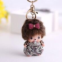 Creative kawaii rhinestone monchichi keychain doll pendant car key ring women handbag bag charm key chains holder Jewelry gift