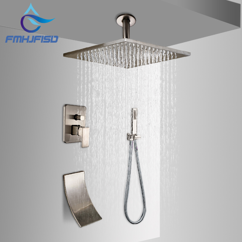 Brushed Nickel Ceiling Mounted 16 Shower Faucet Set Rain Shower Head Mixer Tap Waterfall Spout Hand Shower