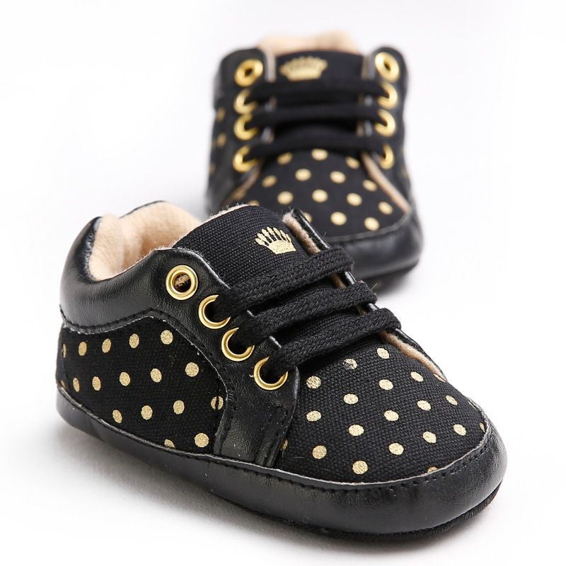 Cute Baby Boys Polk Dot black Autumn Lace-Up First Walkers Sneakers Shoes Toddler Classic Casual Shoes