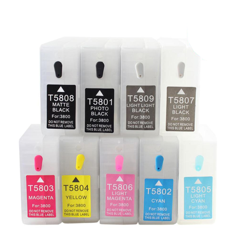 9pcs 80ml T5801 Empty Refillable Ink Cartridge For epson Stylus pro 3800 pro 3880 printer ink with chip 11colors 200ml empty ink cartridge with ink bag for epson stylus photo 4900 printer with arc chip