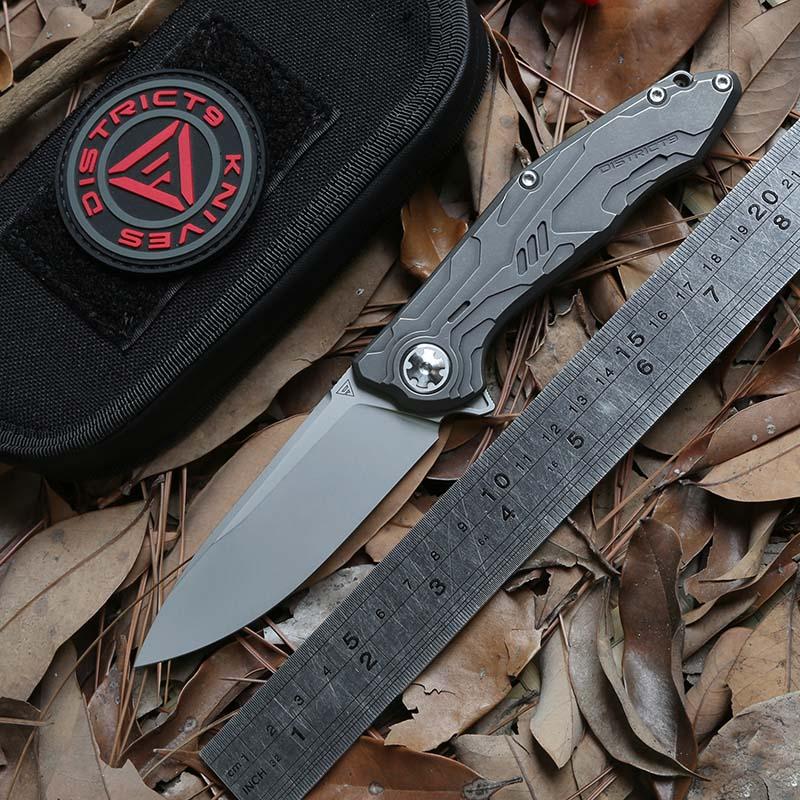 District 9 Original ICE Flipper Ball bearing folding knife S90V blade Titanium camping hunt outdoor Survival