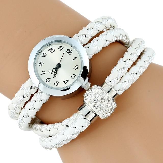 Gnova Platinum TOP Paracord Bracelet Watch Women Rhinestone Strap Ladies QUARTZ Dress Watches retro silver plated brooch relogio