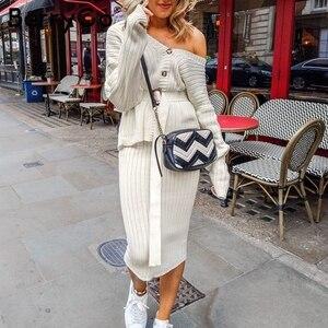 Image 2 - BerryGo deux pièces femmes tricoté robe ensemble élégant automne hiver robe pull costumes manches longues bouton ceintures pure jupe costume