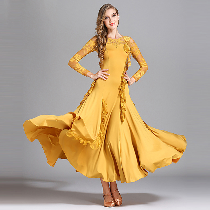 Ballroom Dance Dresses Long Sleeve Lace Women Flamenco Dress Modern Dancer Ballroom Dancing Clothes Performance Wear