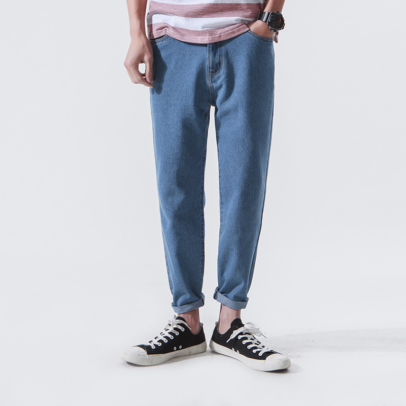 Men Retro Fashion Casual Harem Denim Pant Water Wash Straight Jeans Male Solid Blue Loose Denim Trousers large size 29 42 young men jeans hole patchwork denim harem pant male fashion casual denim pant trousers