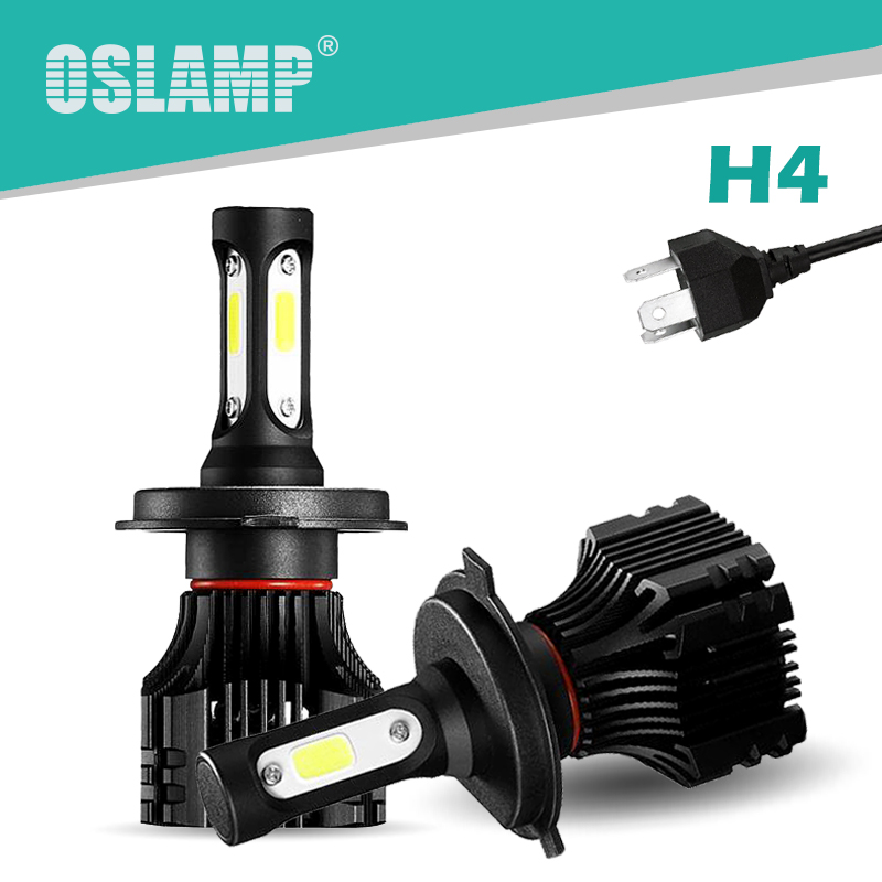 Oslamp 72W 8000LM 2pcs H4 Led Headlight Lamps 6500K White COB Chips All-in-one Hi-Lo Beam H4/HB2/9003 Car Bulbs with Cooling Fan 1 set h4 led hi lo beam car headlight bulbs auto front led lamps 36w bulb 9000lm all in one csp chips 6500k cold white 12v 24v