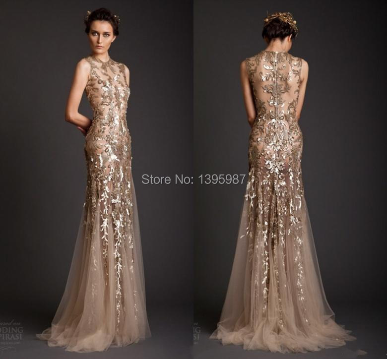 Gold Appliqued Tulle Mermaid Sleeveless Evening Dresses