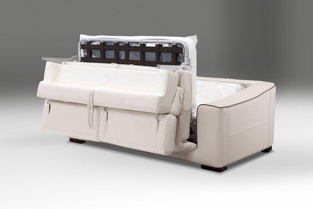 Genuine leather sofa bed living room furniture divano/soggiorno divano letto e materasso in stile moderno, funzionale poggiatesta