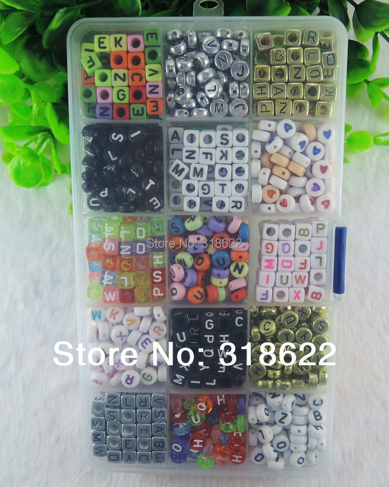 New 15Models Mixed beads,Box Packed, 240g Assorted Alphabet Letter Flat Round Cube Acryl ...