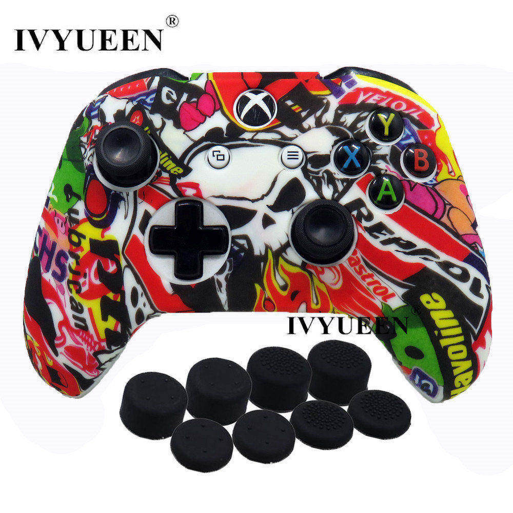 купить IVYUEEN 9 in 1 Camo Silicone Protective Cover Skin Case for Microsoft Xbox One X S Controller with 8 Thumb Stick Grips Caps по цене 290.35 рублей