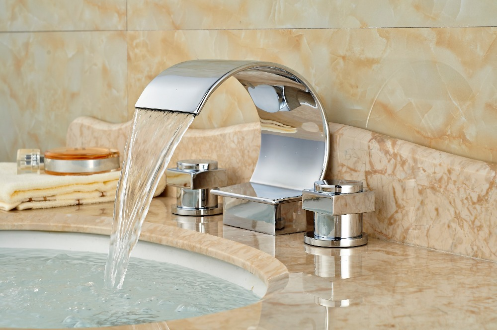 Waterfall Spout Chrome Brass Bathroom Basin Faucet Vanity Sink Mixer Tap 2 Lever