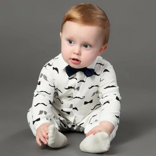 Newborn baby boy rompers 100% Cotton tie little Gentleman Suit Bow Leisure Body suit clothing Toddler Jumpsuit Baby boy clothes gentleman baby boy clothes black coat striped rompers clothing set button necktie suit newborn wedding suits cl0008