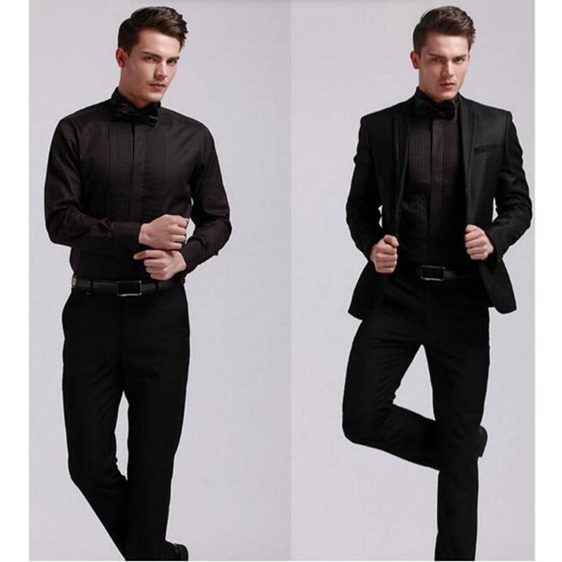 f5d85e19dfbd Aliexpress.com : Buy Fashion custom make Men Dress Shirts white Color Long  Sleeve lapel Mens Clothing wedding occasion groom suit shirt from Reliable  dress ...