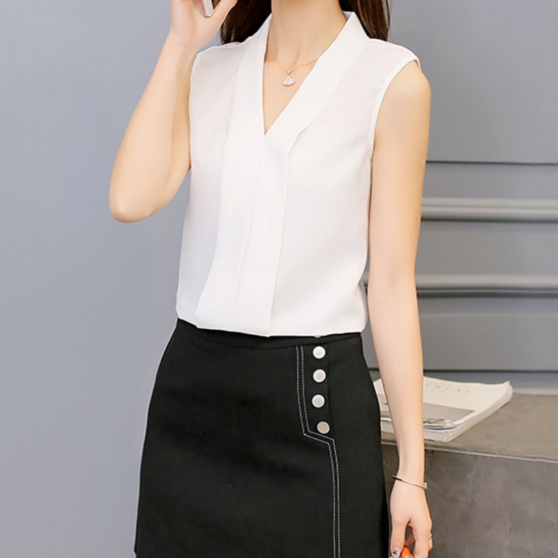 2017 Spring Summer Women Chiffon Blouses Sexy Sleeveless V Neck Woman Casual Loose Office Lady Top Female Shirt Blouse Female