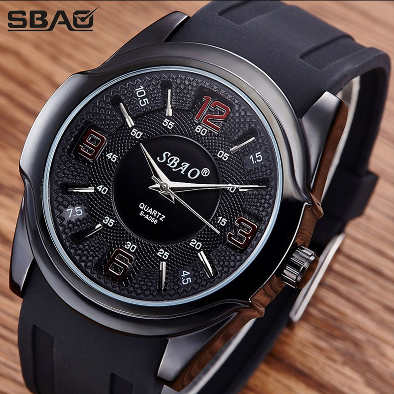 SBAO Brand Quartz Men Sports Silicone Clock Cool Digital Boy Military Watch Male Fashion Casual Student Wristwatch Waterproof men causal military quartz watch silicone stripe strap wristwatch casual sports watches date clock gifts for boy friend ll 17