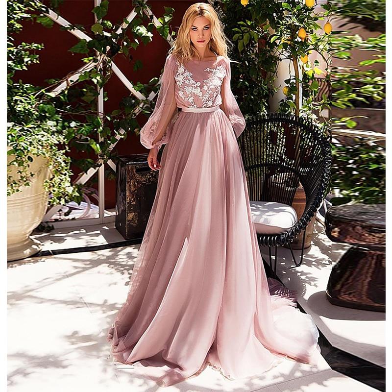 Verngo Beach Wedding Dress 2019 A Line Wedding Dress Ruff Sleeves Elegant Bridal Dress Flowers Tulle Wedding Gowns Casamento