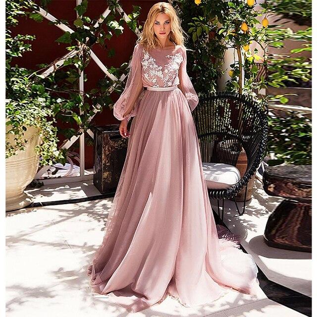 Verngo vestido de novia de corte A para playa, elegante vestido nupcial con mangas de Ruff, flores, con tul vestido de novia, boda, 2019