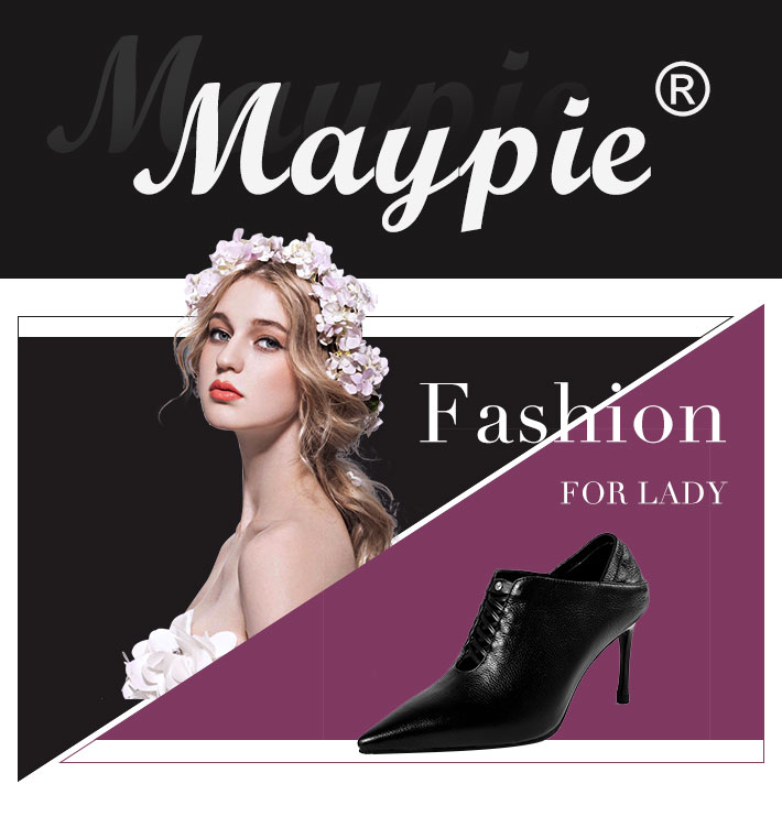 MAYPIE 2018 New Arrival Genuine Leather High Heel Shoes Ladies 8CM ... 9b302d0a703d