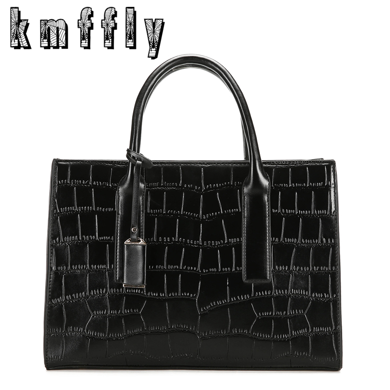 KMFFLY Fashion Alligator Top-Handle Bags Luxury Handbags Women Bag Designer High Quality Shoulder Bags Black Female Sac A Main kmffly luxury handbags women bags designer genuine leather fashion shoulder bag sac a main marque bolsas ladies casual handbags