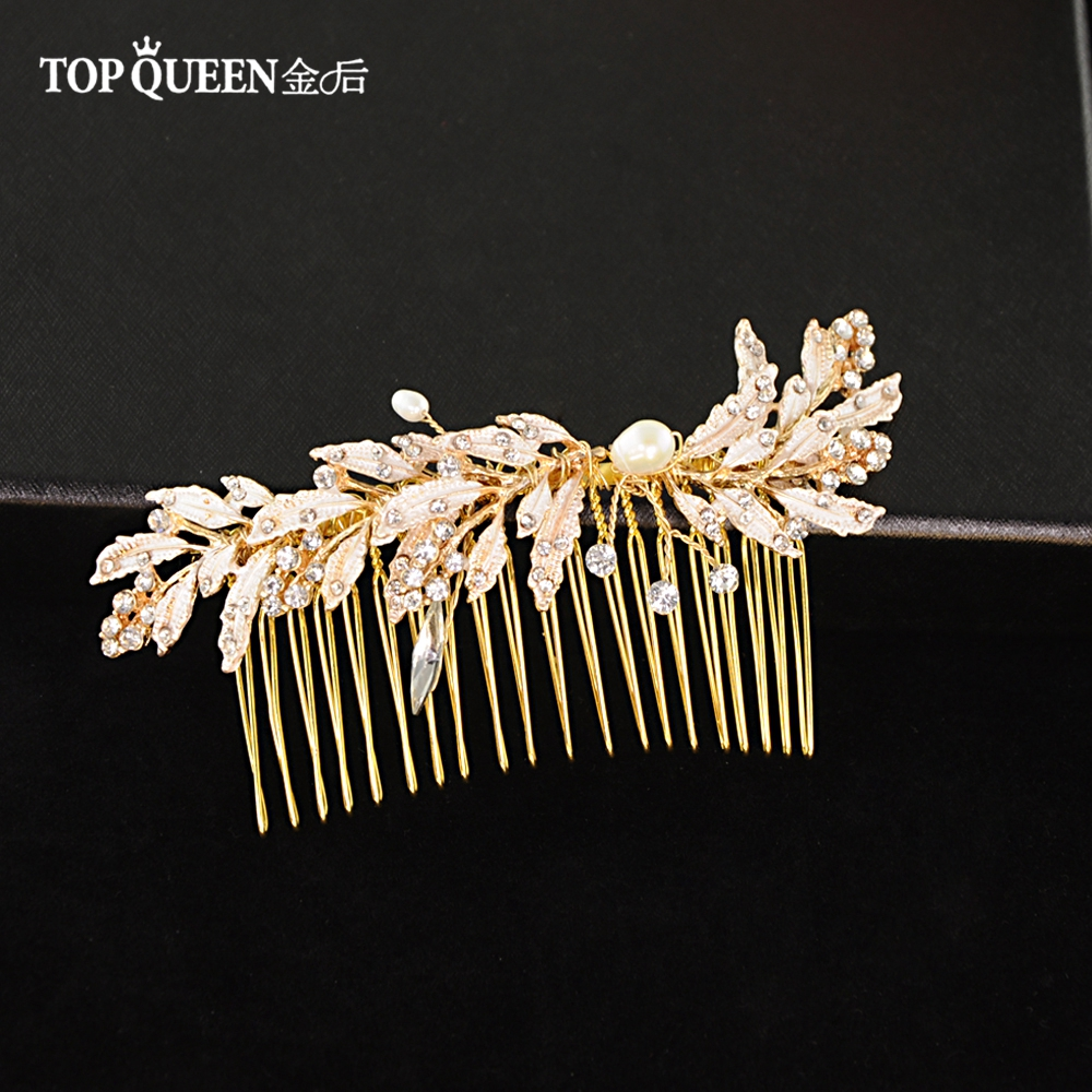 TOPQUEEN Fashion Wedding Comb Elegant Wedding Hair Clip Golden Diamond Hair Comb Wedding Hair Jewelry Accessory For Party  HP12