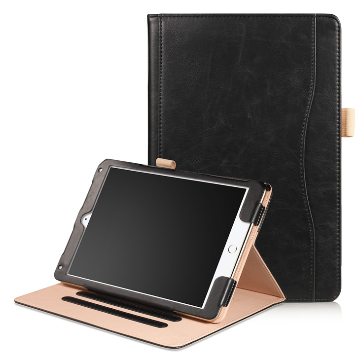 black Wallet case with hand loop, stand and leather style for iPad 9.7 (2017, 2018, A1893), Air 1,2