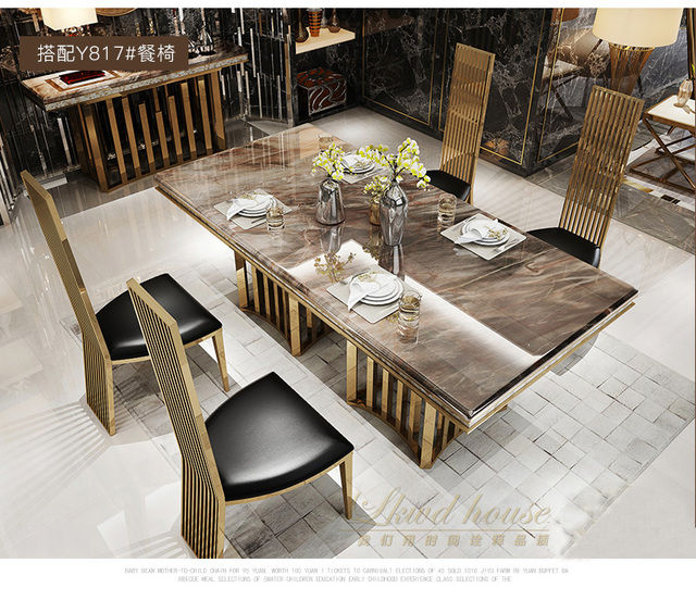 Superior Minimalist Modern Designer Unique New Stainless Steel Golden Dining Room Set  With Marble Table And Leather