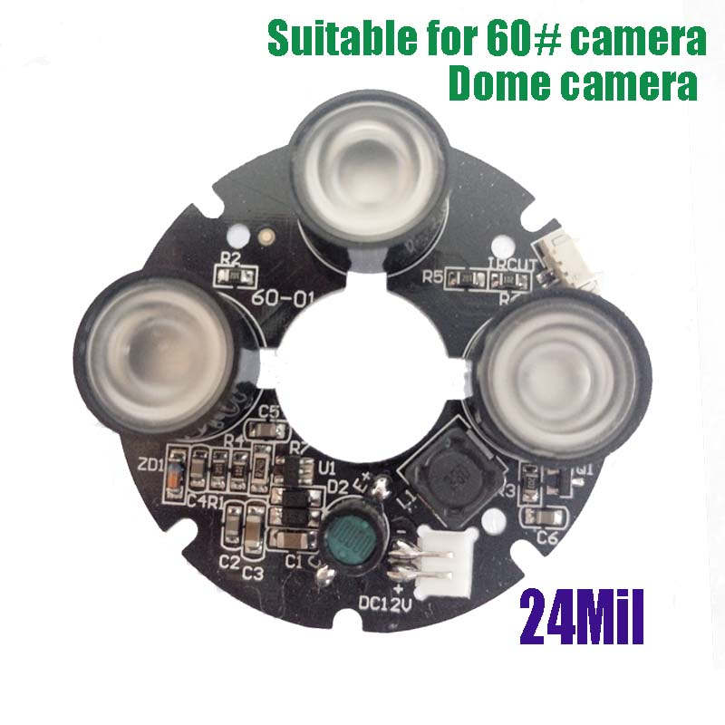 3 Led IR Array 24mil light night vision board monitoring infrared light board for CCTV Cmos/CCD Security IP network AHD camera 3 led ir array 24mil light night vision board monitoring infrared light board for cctv cmos ccd security ip network ahd camera