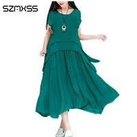 SZMXSS 2017 Women Dress Short Sleeve O Neck Summer Dress Green Brown Blue White Casual Beach
