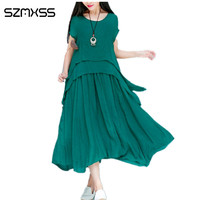 SZMXSS 2017 Women Dress Short Sleeve O Neck Summer Dress Green Brown Blue White Casual Beach