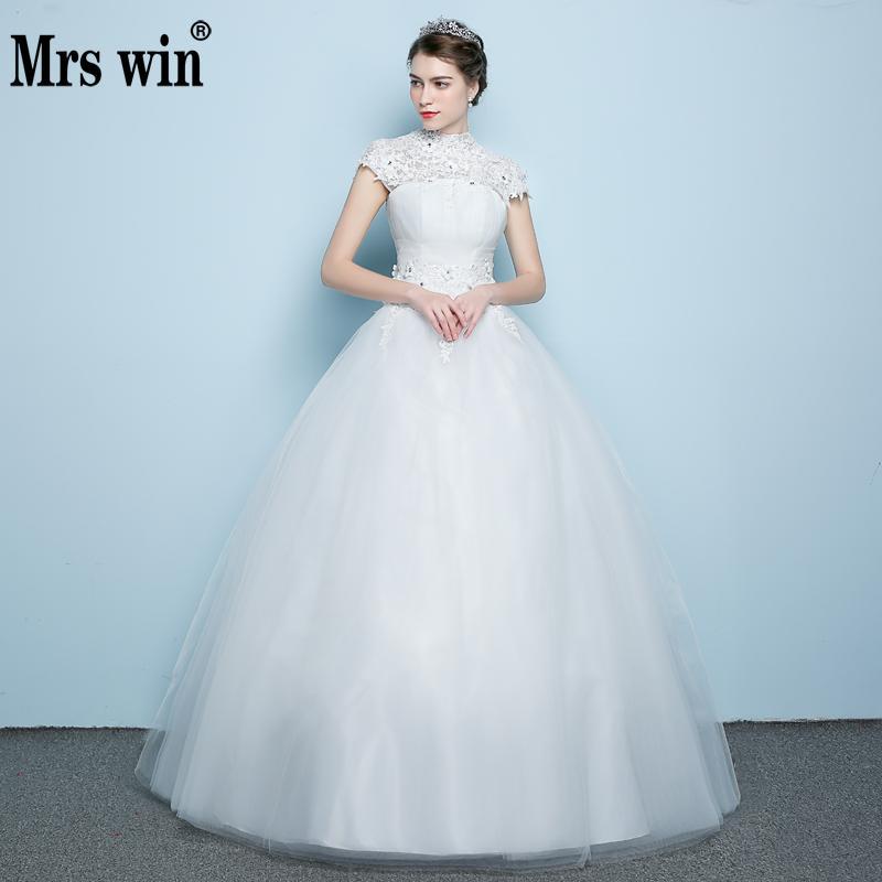 High Neck Wedding Dress 2019 Classic Applique Custom Made