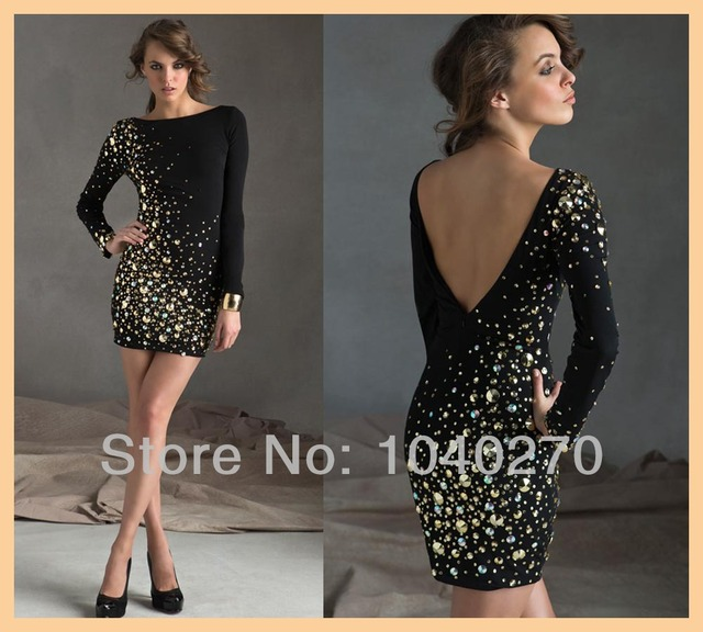 379ec0a5fb Classy Hot   Sexy Sheath Long Sleeve Scoop Beaded Crystal Backless Mini  Winter Cocktail and Party Dresses C9249