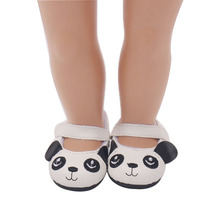 18 inch Girls doll shoes Cute panda shoes cartoon shoe PU American newborn shoe Baby toys fit 43 cm baby dolls s103 18 inch girls doll shoes winter woolen slippers casual shoe american newborn accessories baby toys fit 43 cm baby dolls s129