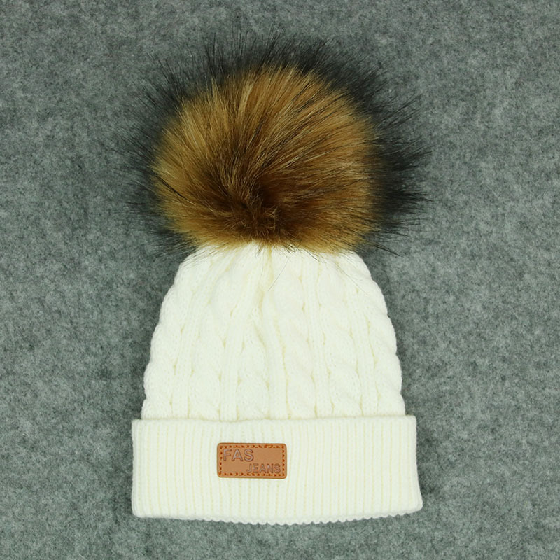 Men and Women Children's Woolen Hats Knitted Thickened Baby   Beanie   New Fake Fur Ball Removable Leisure Outdoors Warm Winter Cap