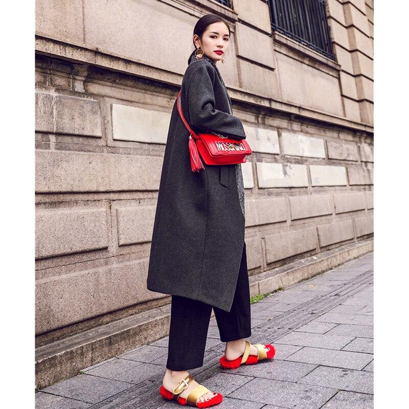 Femmes Épaississement Vintage Vent Neutre Manteau Casual Mode Laine De Lâche Gray Couture Long D'hiver vrwRqTvx