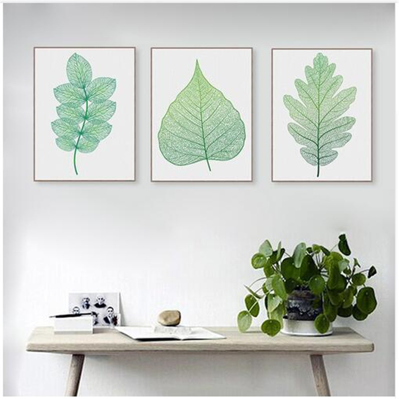 Artdom Kein Gerahmte Moderne Aquarell Grün Blatt Pflanzen Poster ...