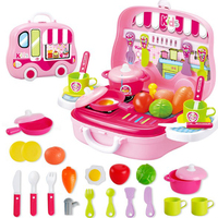 Pretend Play Children Simulation Kitchen Cooking Tableware Dressing Suitcase Kids Plastic Toy Set