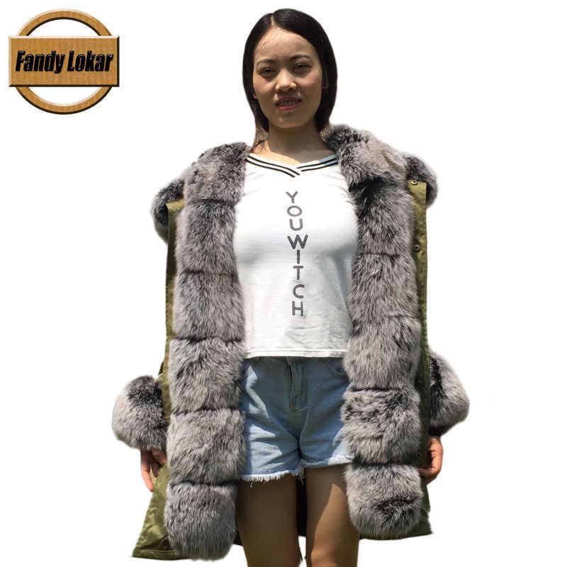 e6bbf360511e ... Fandy Lokar Real Fur Parka Women Winter Jacket Real Fox Fur Hooded Coats  Nature Rabbit Fur