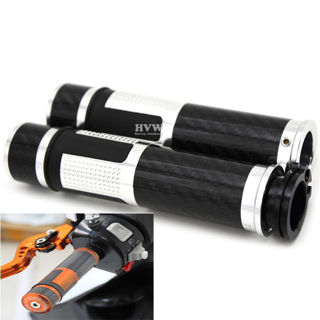 "free shipping  most motorcycle with 22 mm 7/8"" handlebar CNC aluminum & carbon fiber hand grip for crf450x  crf450r  yz125"