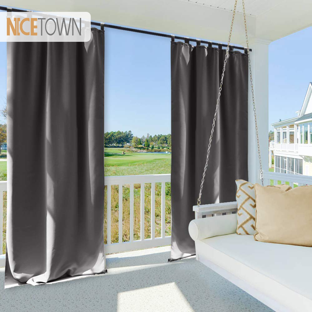 Nicetown Waterproof Blackout Patio Outdoor Garden Curtain Tab Top Grommet Thermal Insulated Curtains For Beach Gazebo