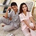 Amante Faux Seda Sleepwear Pijama De Cetim Plus Size-manga Curta Masculina Mulheres Twinset Salão Define M/L/XL/XXL Frete Grátis