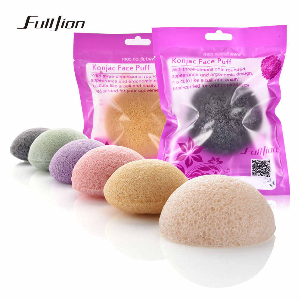 Fulljion 6 Cores Natural Konjac Esponja Cosméticos Puff Rosto Limpeza Esponja de Lavagem Esponja de Limpeza Esfoliante de Limpeza Facial