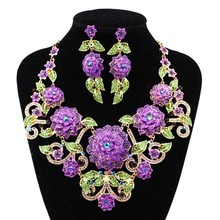LAN PALACE boutique wedding jewelry set big flowers Corsage Austrian crystal necklace and earrings for wedding  free shipping