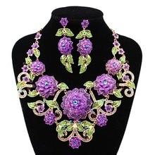 LAN PALAIS boutique de mariage ensemble de bijoux grand fleurs Corsage cristal Autrichien collier et boucles d'oreilles pour le mariage livraison gratuite