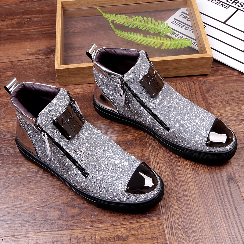 Movechain New Men's Casual Fashion Zipper Outdoor High-Top Shoes Man Slip-On Boots Mens Driving Party Flats 5