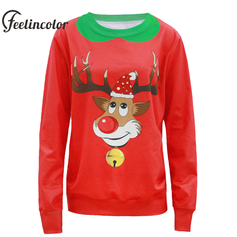 Feelincolor New Arrival Christmas Sweater Reindeer Santa Clus Unisex Sweaters Fashion Red kerst trui For Men Women Pullovers