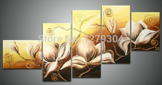 Free shipping5piece100%Handpainted Modern Stretched <font><b>Elegant</b></font> Dancing Flowers landscape Oil Painting On Canvas art <font><b>Home</b></font> <font><b>Decoration</b></font>