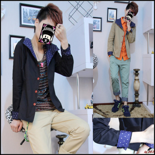 Men's clothing outergarment tles outerwear hat clothes spring and autumn slim jacket