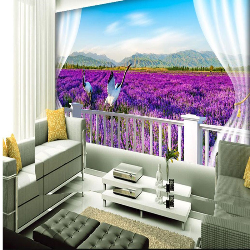 3D Pastrol Wall Mural Wallpaper in Wapapers Lavender Flower Wall Paper for Dining Room Bedroom Home Decor 3D Wall Stickers Mural creative lavender pattern design removable 3d wall sticker for home decor