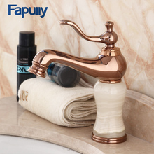 Fapully Basin Rose Gold Bathroom Faucet Single Handle Jade Brass Body Deck Mounted Hot And Cold Water Mixer Tap 559-11R